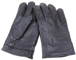 BW Lederhandschuhe, gefüttert, grau Größe L - 1