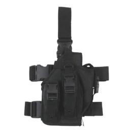 Combat – Taktischer Bein-Holster mit 3 Magazin-Taschen – Zubehör für Softair-Waffen – Farbe: Schwarz - 1