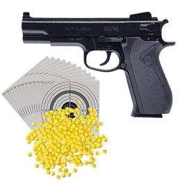 GSG S&W M4505 H.P.A. Softair / Airsoft max. 0,5 Joule + 1.000 Schuss Umarex Softair BB Kal. 6mm/0,12g + 10 ShoXx.® shoot-club Zielscheiben 14×14 cm mit zusätzlichen grauen Ring und 250 g/m² - 1