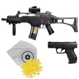 H&K G36 C Softairgewehr elektrisch Kaliber 6mm, max. 0,5 Joule + Walther P99 Softair Pistole Federdruck max. 0,5 J inklusive 2 Magazine + 1.000 Softair BB 0,12 g + 100 ShoXx.® Zielscheiben 14x14cm - 1