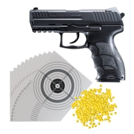 H&K P30 Softair Pistole 0,5 Joule (2.5782) mit Metallschlitten + 5.000 Schuss ShoXx.® BB 6 mm / 0,12g + 25 ShoXx.® shoot-club Zielscheiben 14×14 cm mit zusätzlichen grauen Ring und 250 g/m² - 1