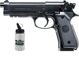 SET: Beretta MOD.92 A1, AEG, Metallschlitten unter 0,5 Joule 6mm + G8DS® Softair Munition BIO BBs Premium Selection 2000 Stück 0,20 g 6mm - 1