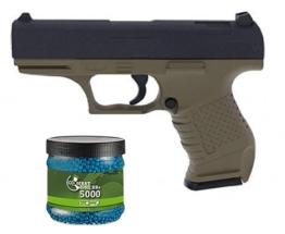 SET: G8DS® Softair Pistole VOLLMETALL G19 FDE 0,5 Joule 6mm + Umarex Combat Zone Softairkugeln blau 6mm 0,12g 5000 BBs - 1