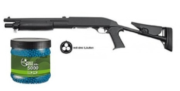 SET: G8DS® Softair PUMPGUN METALL mit 3 Läufen Patronenmagazin unter 0,5 Joule 6mm 7409 + Umarex Combat Zone Softairkugeln blau 6mm 0,12g 5000 BBs - 1