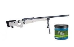 SET: G8DS® Softair SNIPER Scharfschützen Gewehr MB08BT PROFI TURNIER!!!! Mit Metallteilen unter 0,5 Joule 6mm 7663 + Umarex Combat Zone Softairkugeln blau 6mm 0,12g 5000 BBs - 1