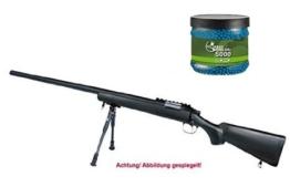 SET: G8DS® Softair SNIPER Scharfschützen Gewehr MB03B PROFI TURNIER!!!! Mit Metallteilen unter 0,5 Joule 6mm 9098 + Umarex Combat Zone Softairkugeln blau 6mm 0,12g 5000 BBs - 1
