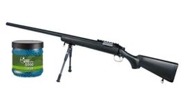 SET: G8DS® Softair SNIPER Scharfschützen Gewehr Black Eagle M6 Sniper Mit Metallteilen unter 0,5 Joule 6mm + Umarex Combat Zone Softairkugeln blau 6mm 0,12g 5000 BBs - 1