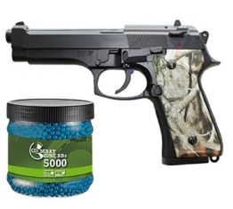SET: G8DS® Sport Softair Pistole Highline Woodland 118 unter 0,5 Joule 6mm Waffe ab 14 Jahren freigegeben 7059 + Umarex Combat Zone Softairkugeln blau 6mm 0,12g 5000 BBs - 1