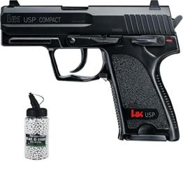 SET: H&K Heckler & Koch USP Compact unter 0,5 Joule 6mm + G8DS® Softair Munition BIO BBs Premium Selection 2000 Stück 0,20 g 6mm - 1
