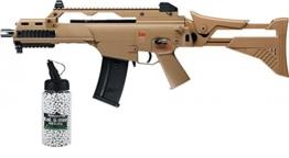 SET: Softair Heckler & Koch G36 C IDZ FDE AEG max. 0,5 Joule 6mm + G8DS® Softair Munition BIO BBs Premium Selection 2000 Stück 0,20 g 6mm - 1