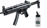 SET: Softair MP5 A5 RAS, Metall Gear Box AEG max. 0,5 Joule 6mm + G8DS® Softair Munition BIO BBs Premium Selection 2000 Stück 0,20 g 6mm - 1