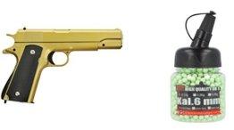 Set x1 Softairkugeln im 1000er Spender 0,20g Gruen & x1 G13G Vollmetall Pistole Softair Airgun Gewehr Goldfarbig Magazin Federdruck 0,5 Joule - 1