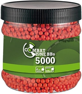 Softair Munition Combat Zone BB´s Basic Selection 0,12 g – 5000 Stück – rot-orange 6 mm - 1