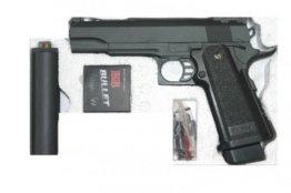 Softair Pistole Vollmetall G.6A 0,5 Joule 6mm mit Schalldämpfer - 1